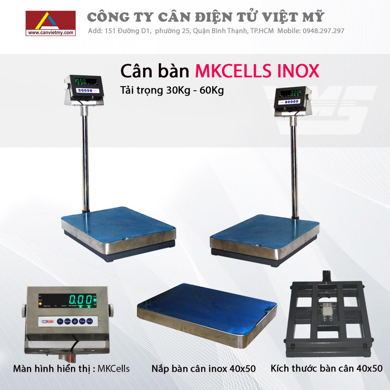 Cân bàn điện tử 60kg inox - mkcell