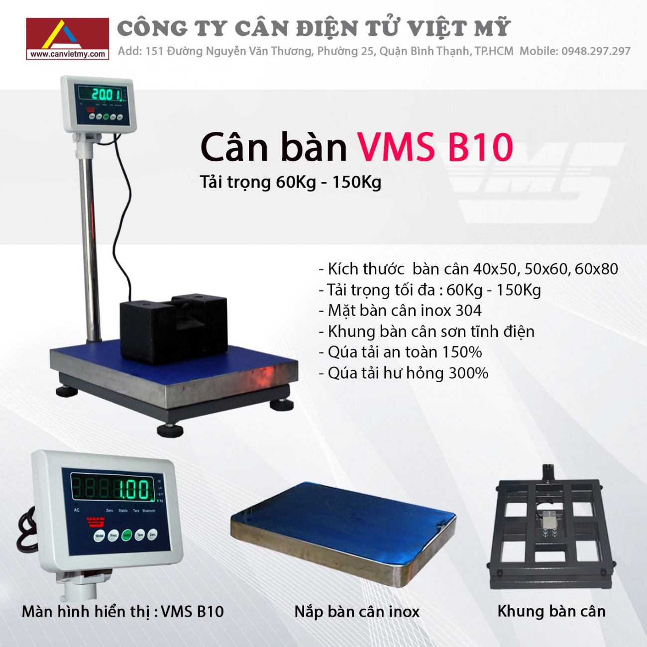 Cân bàn điện tử 60kg - vms b10