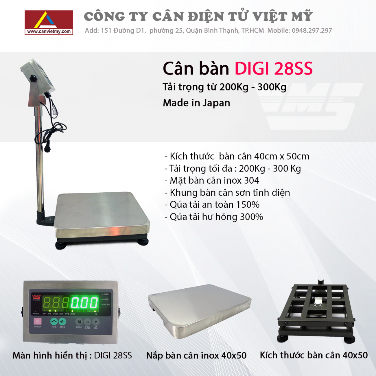 CÂN BÀN ĐIỆN TỬ 300KG - DIGI 28SS slide 0