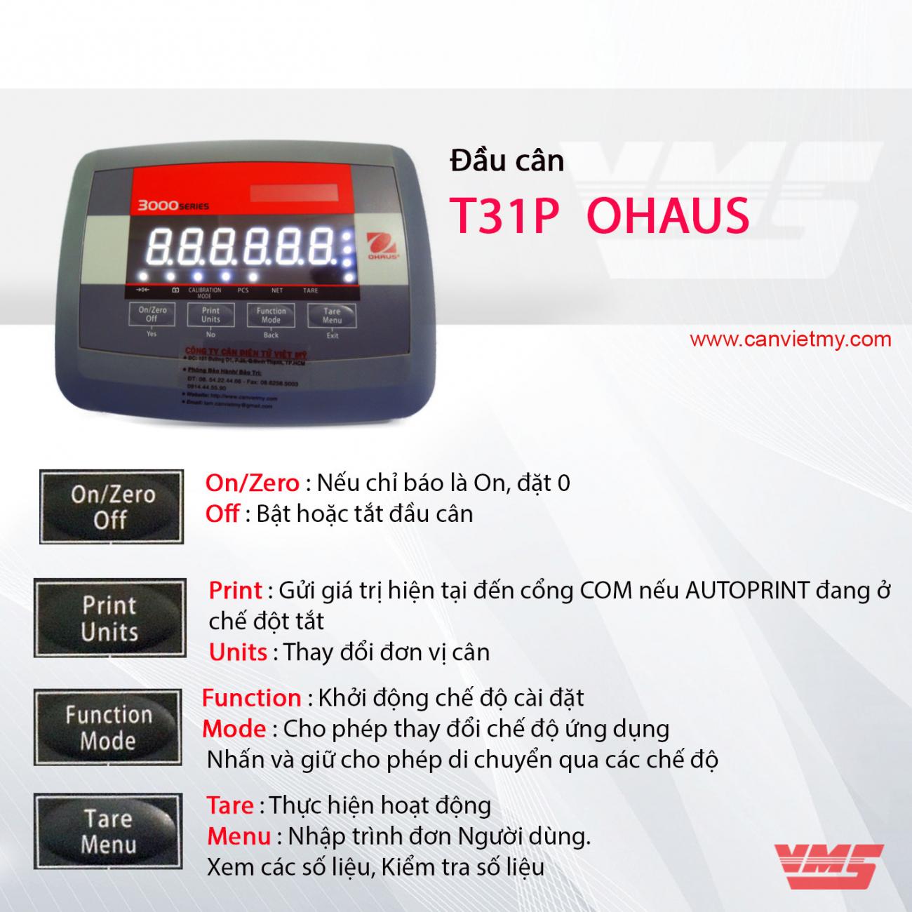 ĐẦU CÂN T31P OHAUS-USA slide 0