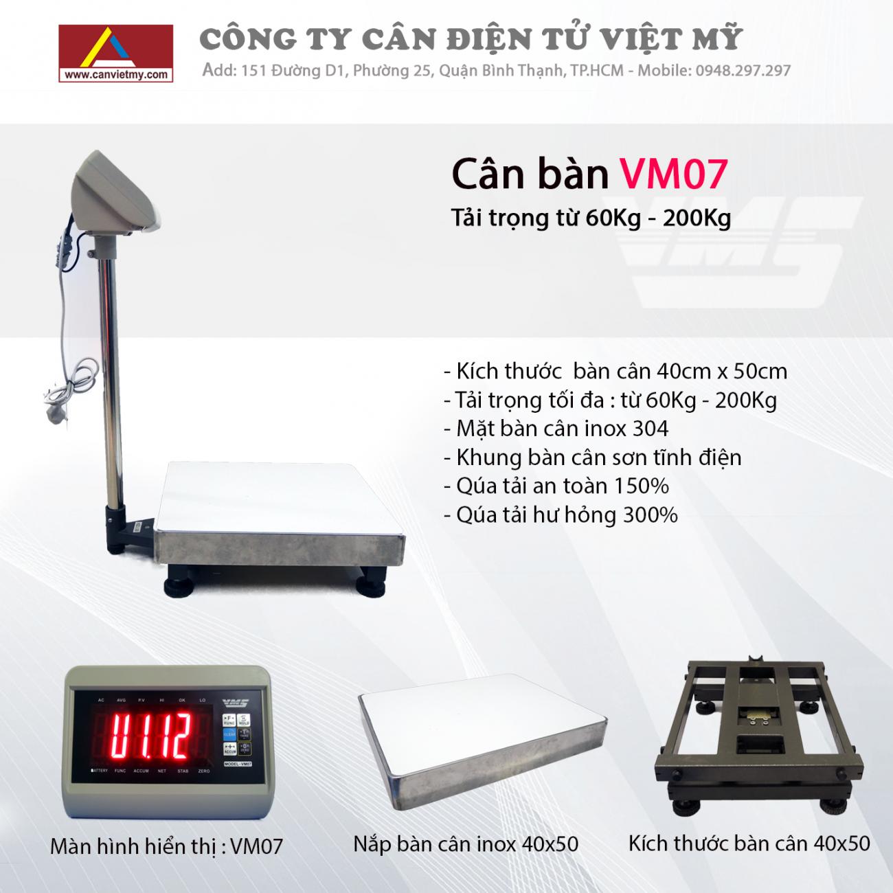 CÂN BÀN ĐIỆN TỬ 300KG - VM07 slide 0