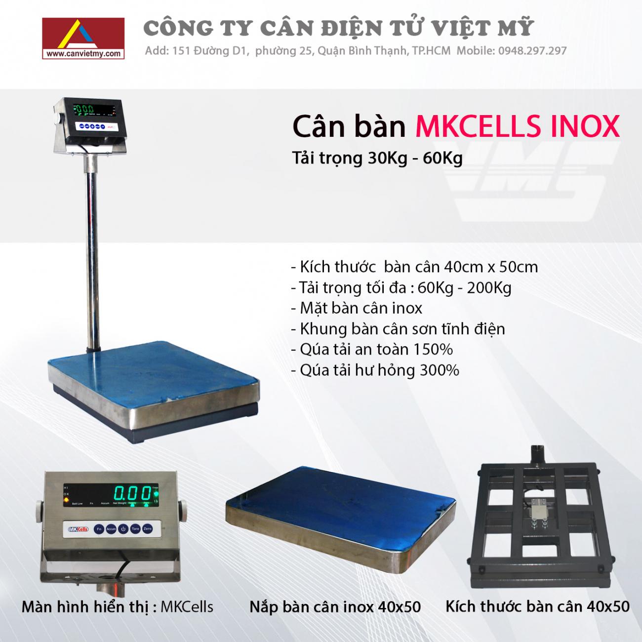 CÂN BÀN ĐIỆN TỬ 300KG INOX - MKCELL slide 0