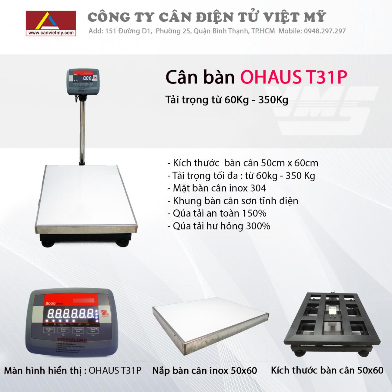 CÂN BÀN ĐIỆN TỬ 500KG - OHAUS T31P slide 0