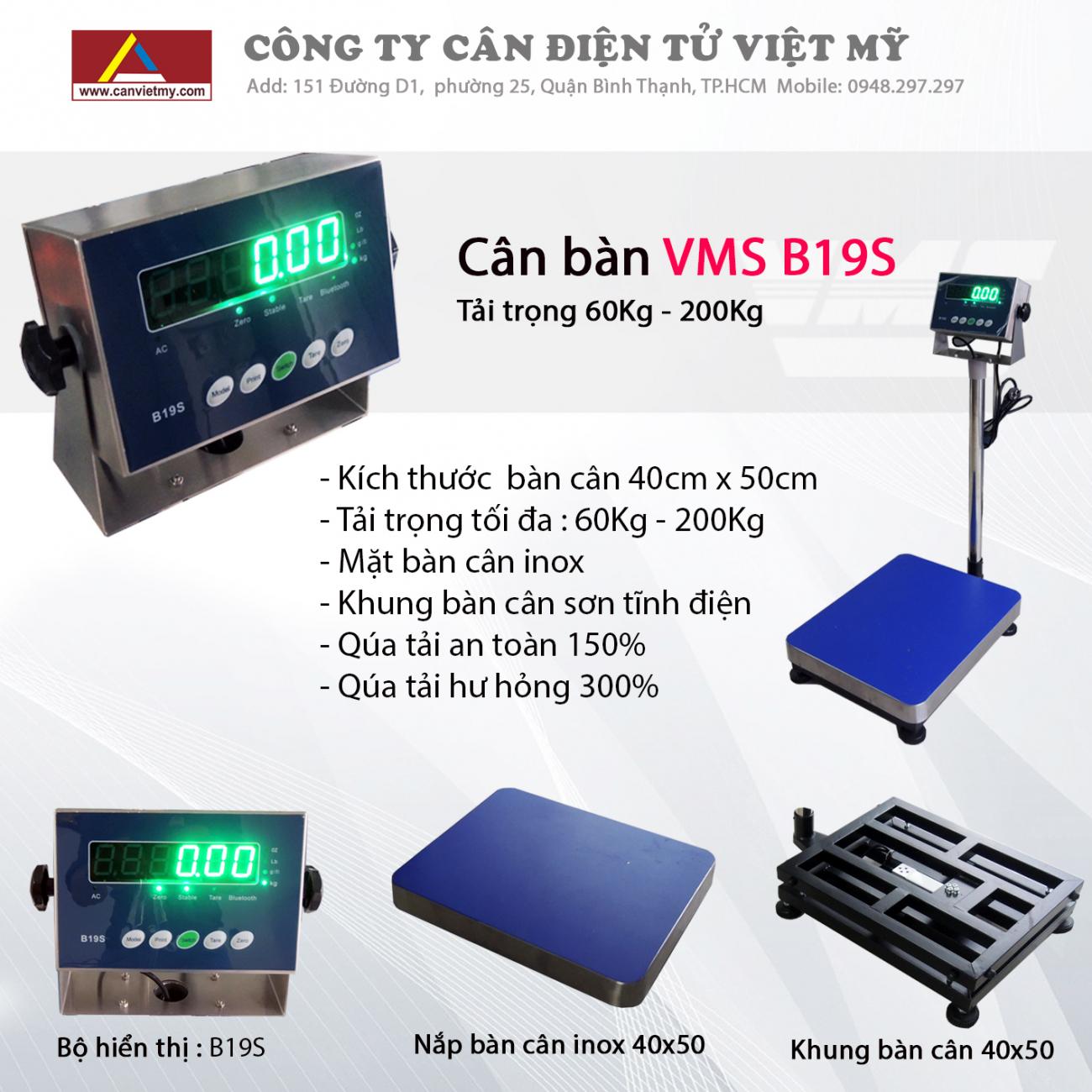 CÂN BÀN ĐIỆN TỬ 60KG - VMS B19S slide 0